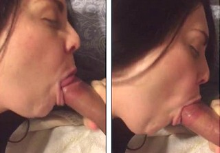 Wife gives quick deep BJ