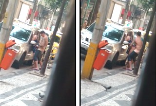 Couple caught having sex on roadside.Girl bent over a car guy fucked her from behind