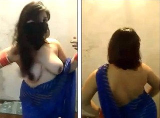 Desi anu bhabhi in transparent saree gets full nude dancing