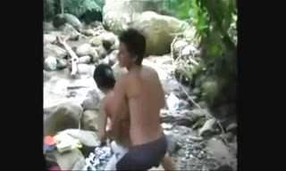 Hot college group students having orgy sex fun in river