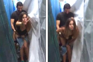 Lovers caught fucking behind tent