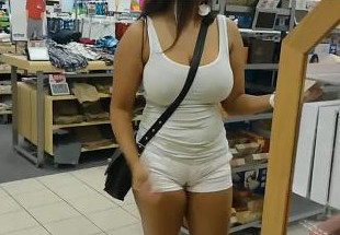 Super Sexy Desi NRI Showing Her Hot Boobs with Hot Dress in SuperMarket