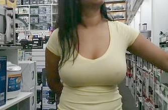 Sexy Desi Wife without Bra in shopping Mall