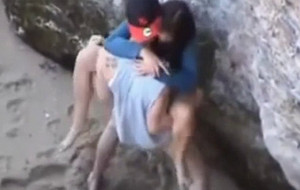 hard fuck by a couple in beach