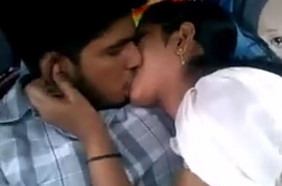 Desi college lovers kissing in car