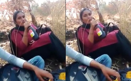 Tamil Chennai college girl drinking beer outdoor