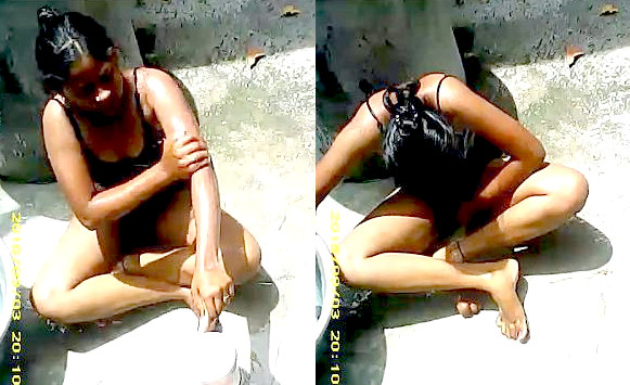 Young desi babe outdoor bathing record by hidden cam