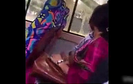 Desi couple enjoying in backseat of bus, boobs press cock suck