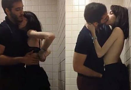 Cute Marina Fraga fucking by her boyfriend in public toilet