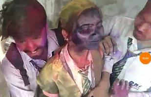 Classmate holi color rubbed video