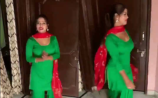 busty sexy girl in salwar dancing
