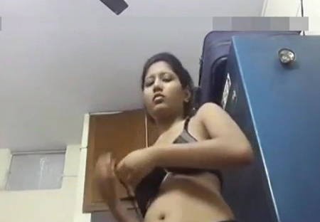 Young Desi Girl Changing Bra