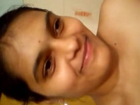 Telugu babe selfshot nude video in bathroom