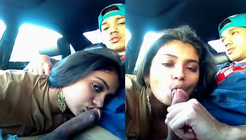 hot NRI babe sucking BF on lunch break in car part 2