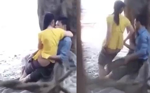 Asian cute girl fucking outdoor park