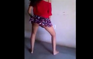 Sweet babe twerk dance in mini skirt