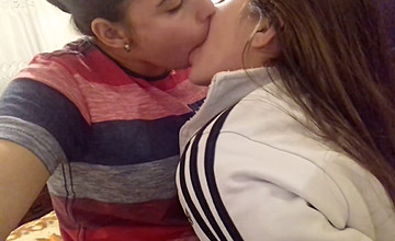 sexy horny lesbian eating each other via deep kiss