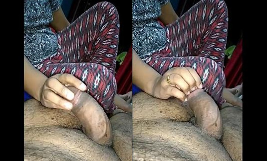 indian wife rub hubby dick