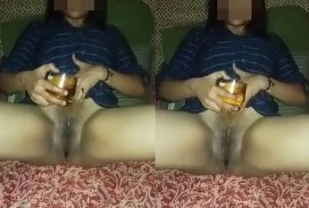 bhabhi pouring whisky on her wet pussy