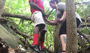 White Girl Blowjob to Black Guy In Woods