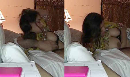 Paki couple at night BJ and boobs sucking