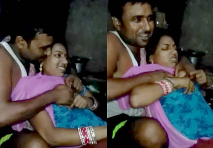desi couple hot boob press i