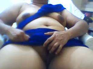 Indian Fat Girl In Blue Saree
