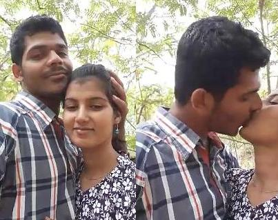 Cute Indian Lovers romance in outdoor