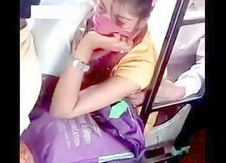 Desi girl boobs pressed hard in public transport and she is enjo