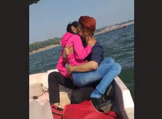 Desi hot couple kissing on boat