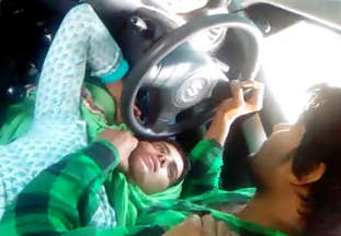 Desi Couple romance in car